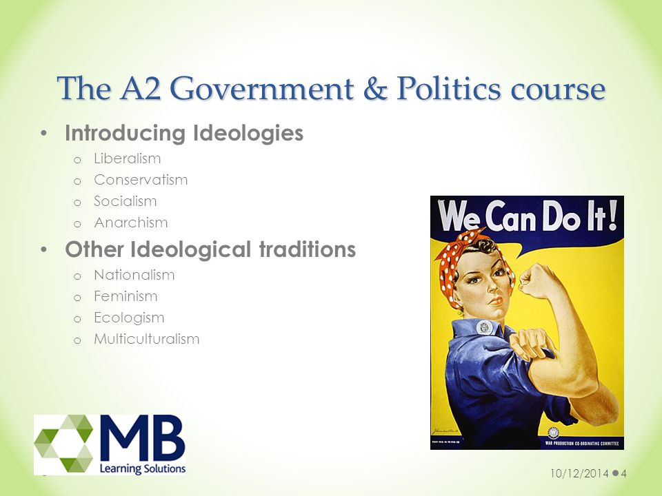 The A2 Government & Politics course Introducing Ideologies o Liberalism o Conservatism o Socialism o Anarchism Other Ideological traditions o Nationalism o Feminism o Ecologism o Multiculturalism 10/12/20144