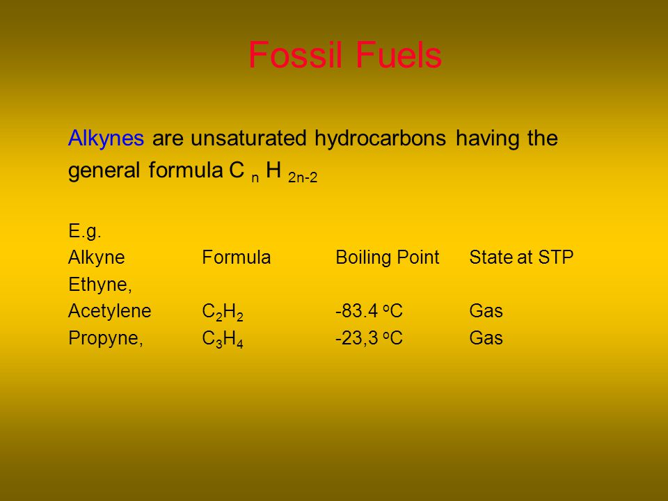 Fossil Fuels Alkynes are unsaturated hydrocarbons having the general formula C n H 2n-2 E.g.