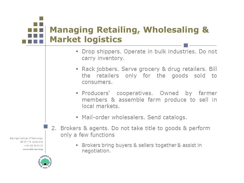 Blekinge Institute of Technology SE-371 79 Karlskrona +46 455 38 50 00 www.bth.se/eng Managing Retailing, Wholesaling & Market logistics  Drop shippers.