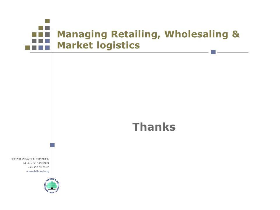 Blekinge Institute of Technology SE-371 79 Karlskrona +46 455 38 50 00 www.bth.se/eng Managing Retailing, Wholesaling & Market logistics Thanks