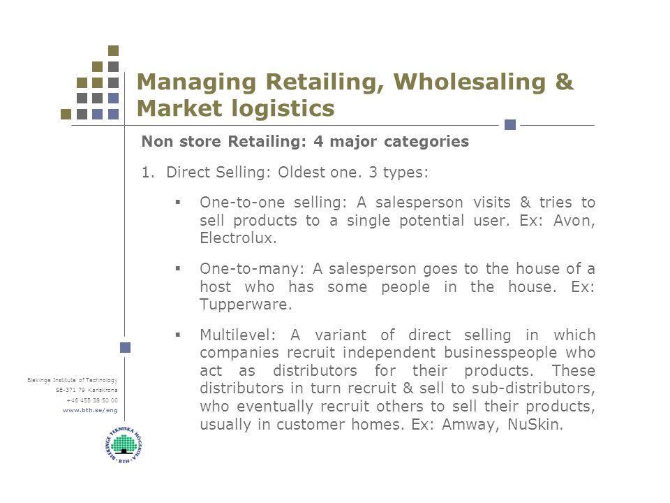 Blekinge Institute of Technology SE-371 79 Karlskrona +46 455 38 50 00 www.bth.se/eng Managing Retailing, Wholesaling & Market logistics Non store Retailing: 4 major categories 1.Direct Selling: Oldest one.