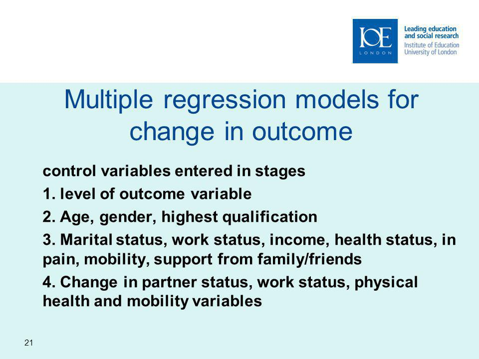 Multiple regression models for change in outcome control variables entered in stages 1.