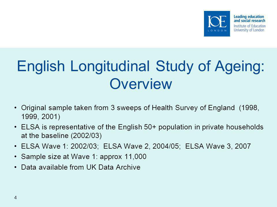 4 English Longitudinal Study of Ageing: Overview Original sample taken from 3 sweeps of Health Survey of England (1998, 1999, 2001) ELSA is representative of the English 50+ population in private households at the baseline (2002/03) ELSA Wave 1: 2002/03; ELSA Wave 2, 2004/05; ELSA Wave 3, 2007 Sample size at Wave 1: approx 11,000 Data available from UK Data Archive