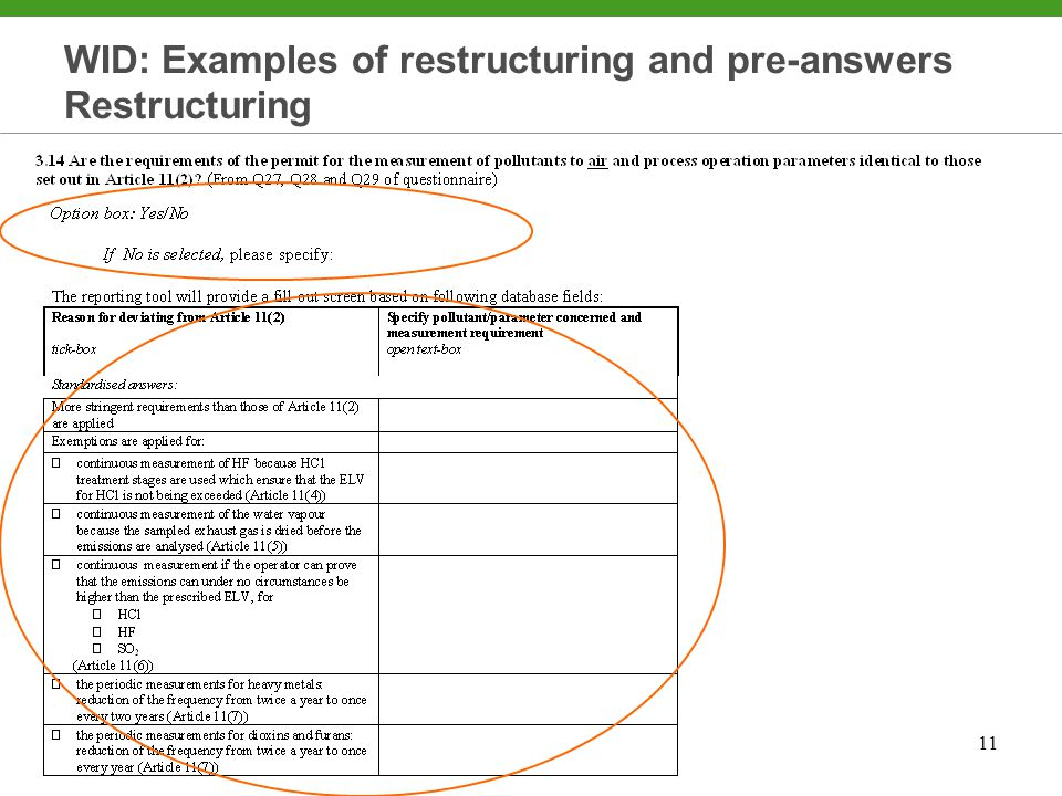 11 WID: Examples of restructuring and pre-answers Restructuring