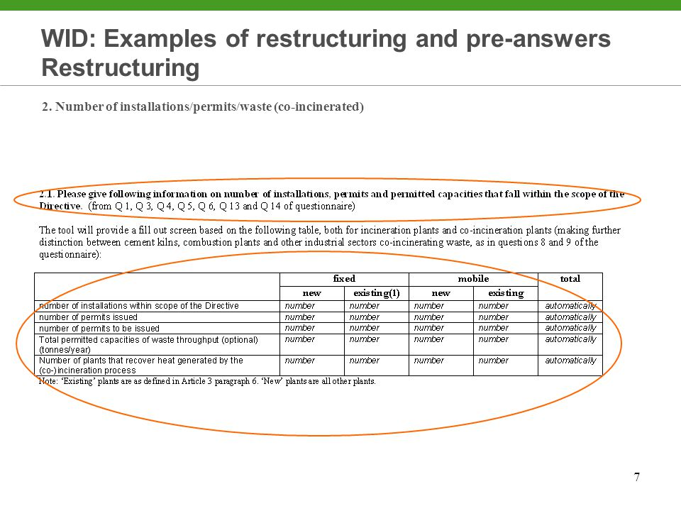 7 WID: Examples of restructuring and pre-answers Restructuring 2.
