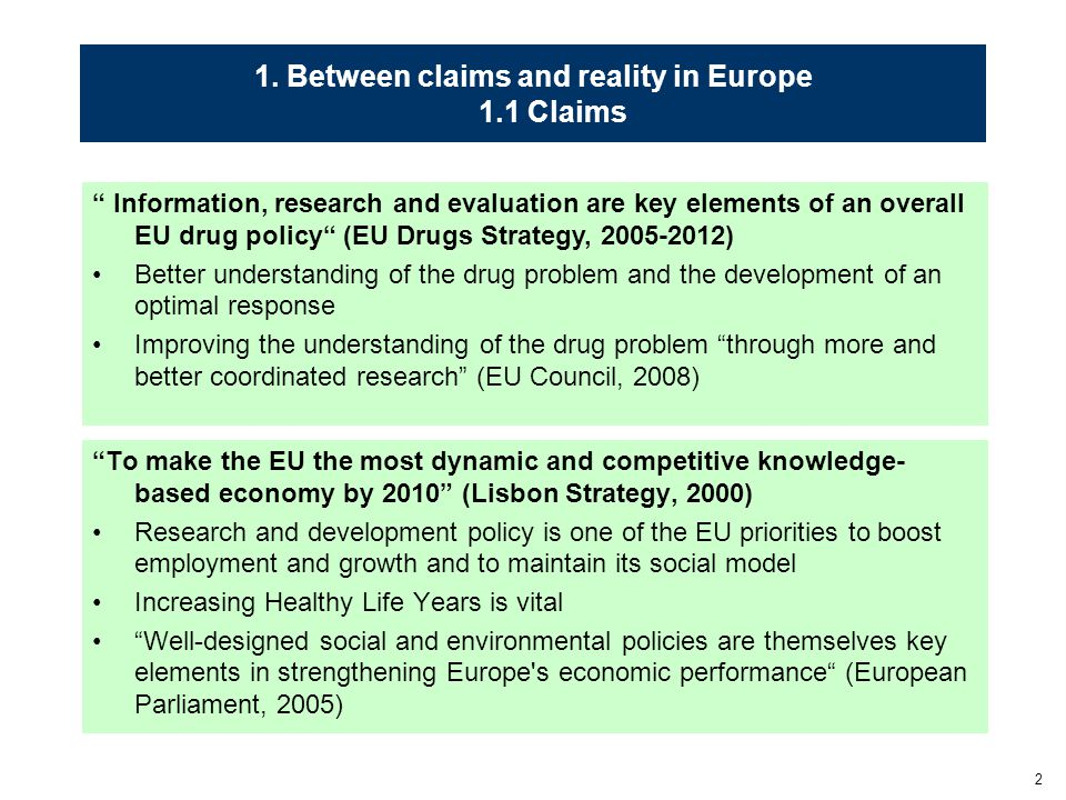 """2 1. Between claims and reality in Europe 1.1 Claims """"To make the EU the most dynamic and competitive knowledge- based economy by 2010"""" (Lisbon Strate"""