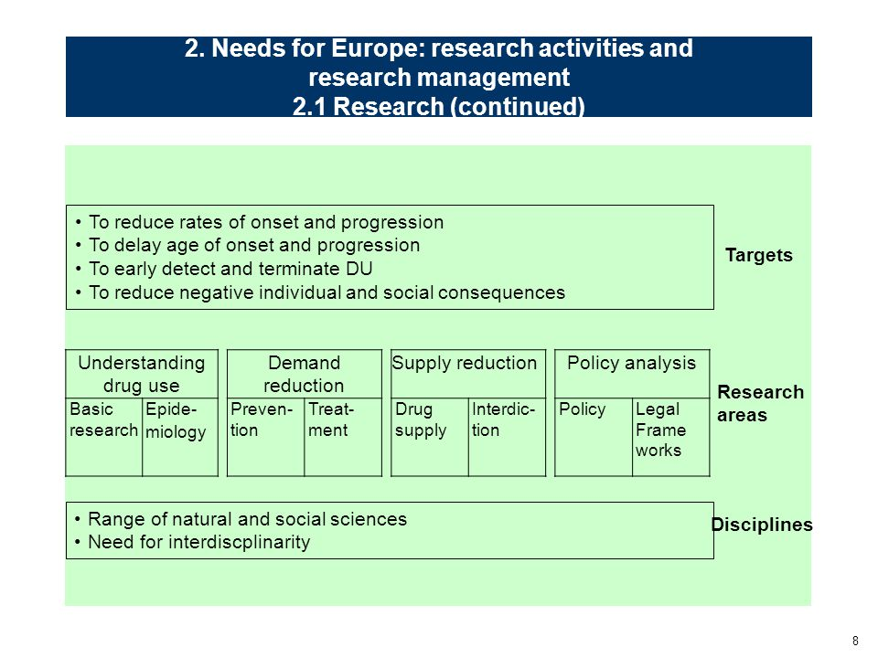 8 2. Needs for Europe: research activities and research management 2.1 Research (continued) Targets Research areas To reduce rates of onset and progre