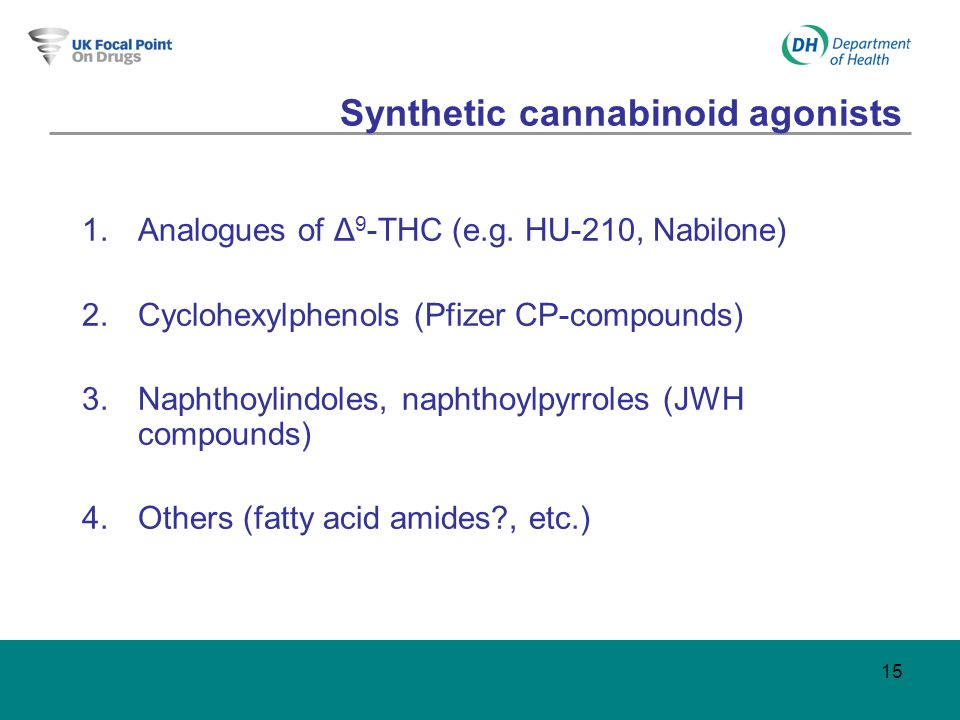 15 Synthetic cannabinoid agonists 1.Analogues of Δ 9 -THC (e.g.