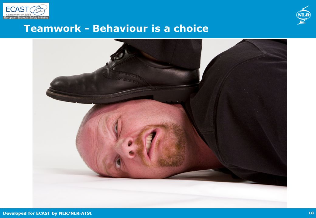 Developed for ECAST by NLR/NLR-ATSI Teamwork - Behaviour is a choice 18