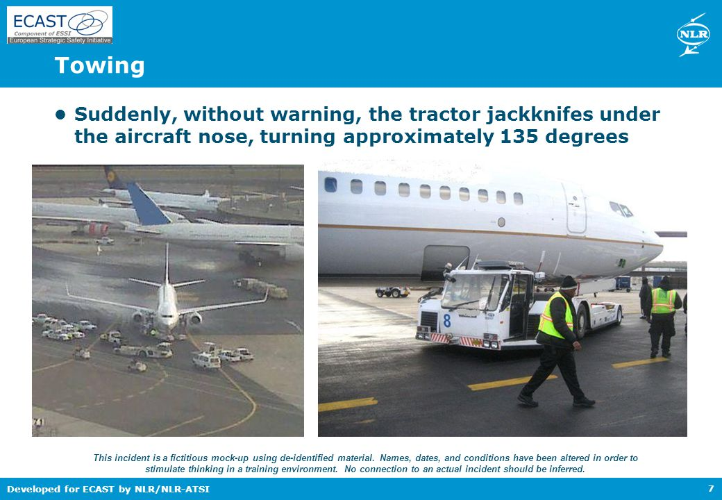 Developed for ECAST by NLR/NLR-ATSI Threat and error management 18 Different reactions to errors: Ignored : forgetting to place cones or parking of Ground Service Equipment within the aircraft movement zone Exacerbated: the combination of a not fully opened cargo door and an inattentive high loader operator increases the risk of aircraft and equipment damage Trapped: this requires team situation awareness and an active attitude from team members to trap and correct errors – not only their own, but also errors made by fellow workers Report errors to learn and prevent!!!
