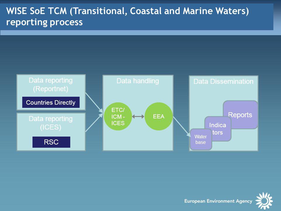WISE SoE TCM dataset & EEA TCM indicators CSI021 - Nutrients in transitional, coastal and marine waters http://www.eea.europa.eu/data-and- maps/indicators/nutrients-in-transitional-coastal- and/nutrients-in-transitional-coastal-and-4 CSI023 – Chlorophyll in transitional, coastal and marine waters http://www.eea.europa.eu/data-and- maps/indicators/chlorophyll-in-transitional-coastal- and/chlorophyll-in-transitional-coastal-and-3 http://www.eea.europa.eu/data-and- maps/indicators/chlorophyll-in-transitional-coastal- and/chlorophyll-in-transitional-coastal-and-3 MAR001 – Hazardous substances in marine organisms http://www.eea.europa.eu/data-and- maps/indicators/hazardous-substances-in-marine- organisms/hazardous-substances-in-marine-organisms- 3