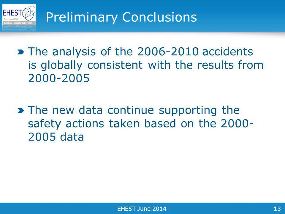 13 Preliminary Conclusions The analysis of the 2006-2010 accidents is globally consistent with the results from 2000-2005 The new data continue supporting the safety actions taken based on the 2000- 2005 data EHEST June 2014