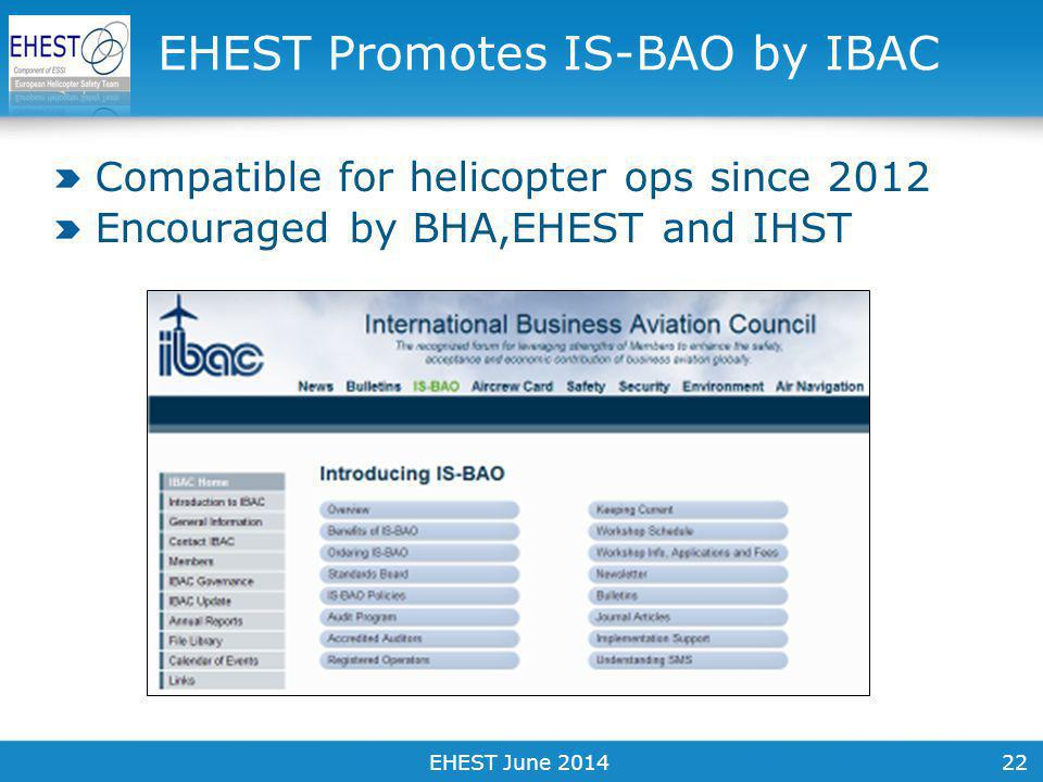 22 Compatible for helicopter ops since 2012 Encouraged by BHA,EHEST and IHST EHEST Promotes IS-BAO by IBAC EHEST June 2014