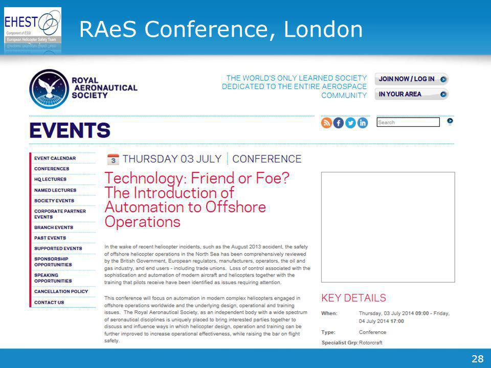 28 RAeS Conference, London