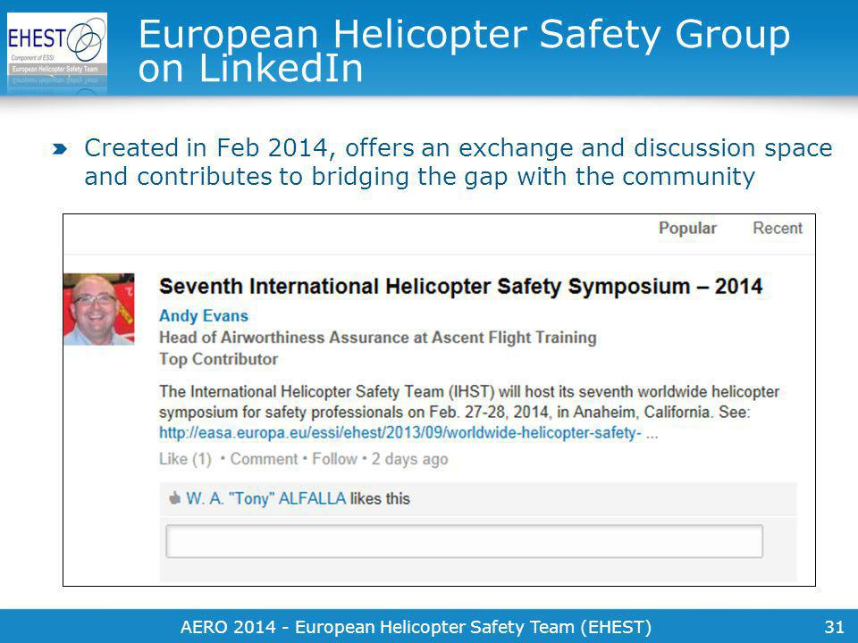 31 European Helicopter Safety Group on LinkedIn Created in Feb 2014, offers an exchange and discussion space and contributes to bridging the gap with the community AERO 2014 - European Helicopter Safety Team (EHEST)