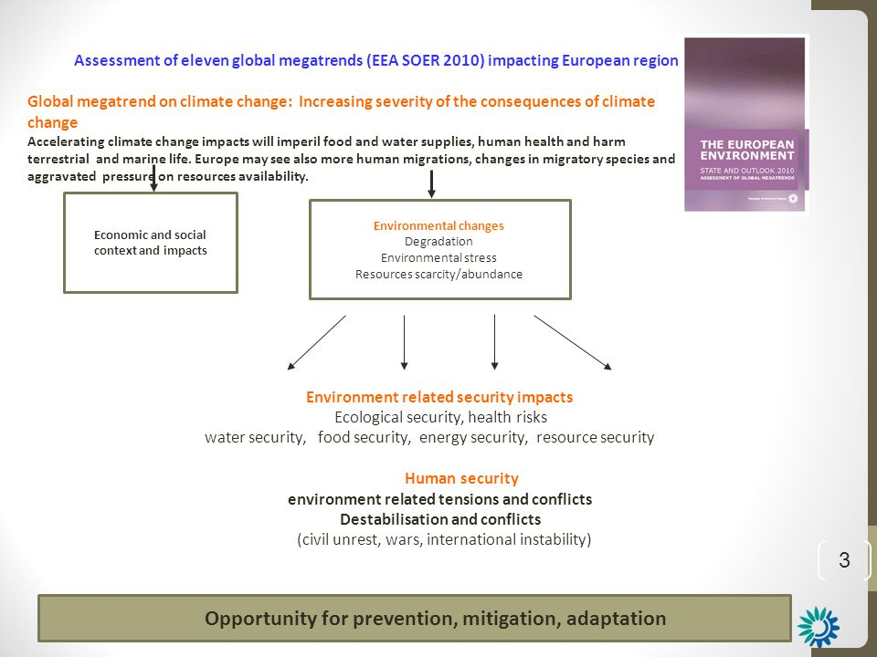 3 Assessment of eleven global megatrends (EEA SOER 2010) impacting European region Global megatrend on climate change: Increasing severity of the cons