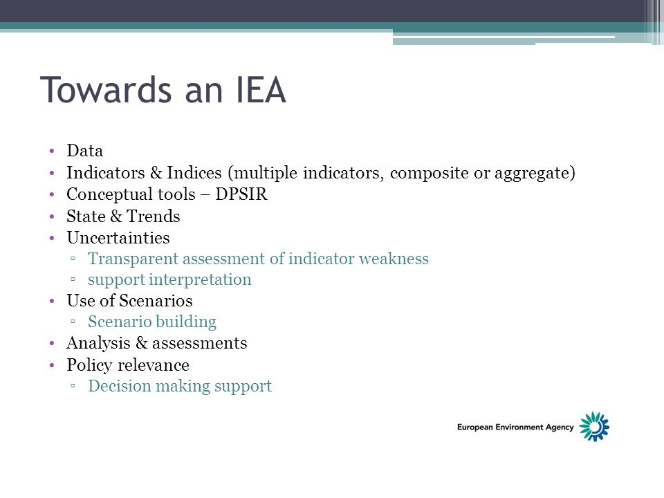 Towards an IEA Data Indicators & Indices (multiple indicators, composite or aggregate) Conceptual tools – DPSIR State & Trends Uncertainties ▫Transpar