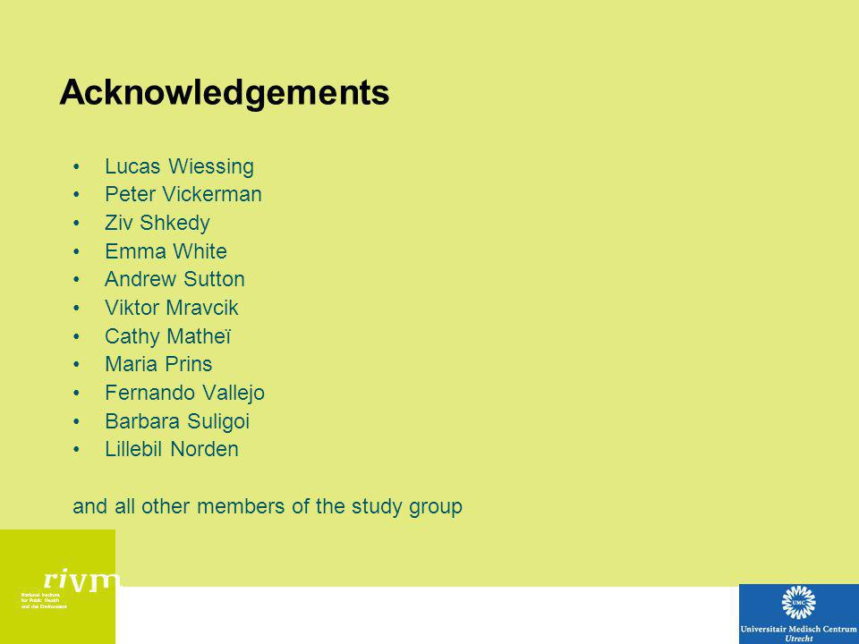 National Institute for Public Health and the Environment Acknowledgements Lucas Wiessing Peter Vickerman Ziv Shkedy Emma White Andrew Sutton Viktor Mravcik Cathy Matheï Maria Prins Fernando Vallejo Barbara Suligoi Lillebil Norden and all other members of the study group