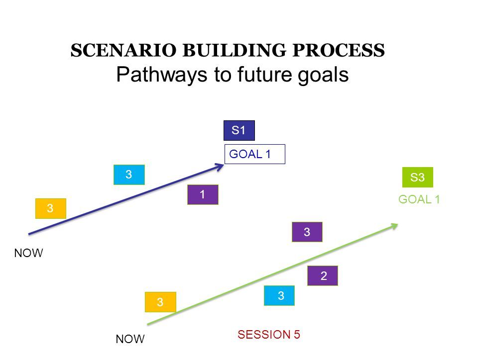 S1 2 Pathways to future goals SESSION 5 SCENARIO BUILDING PROCESS GOAL 1 3 3 1 3 3 3 S3 NOW