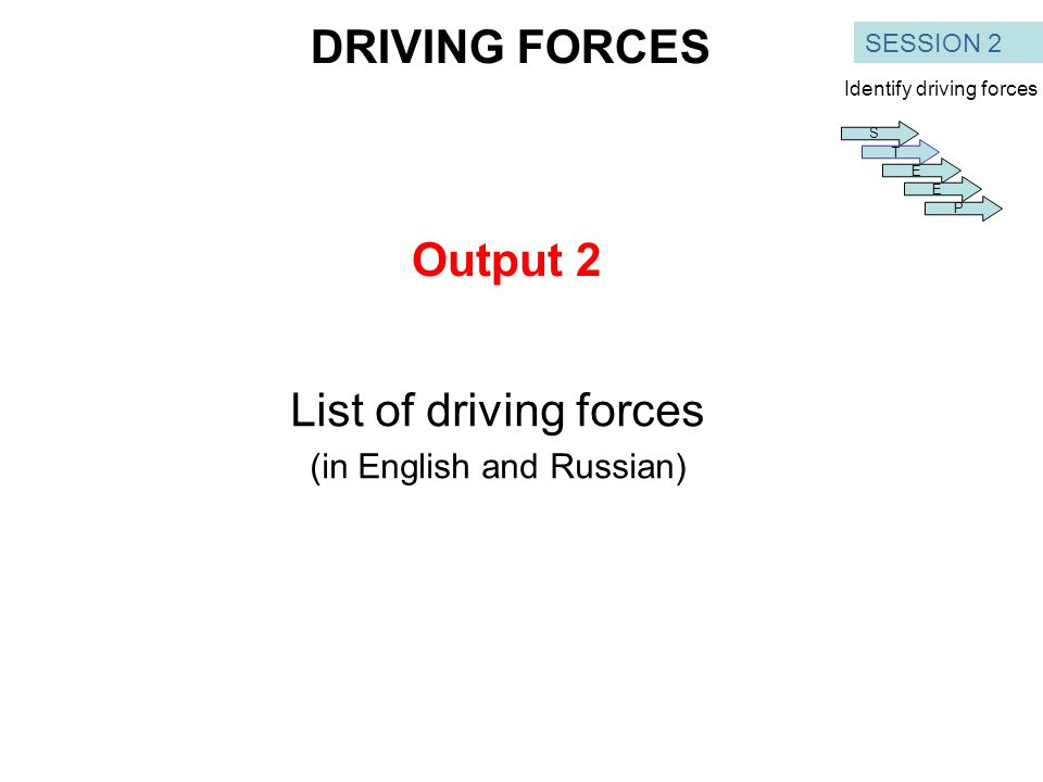 Output 2 List of driving forces (in English and Russian) SESSION 2 DRIVING FORCES S T E E P Identify driving forces