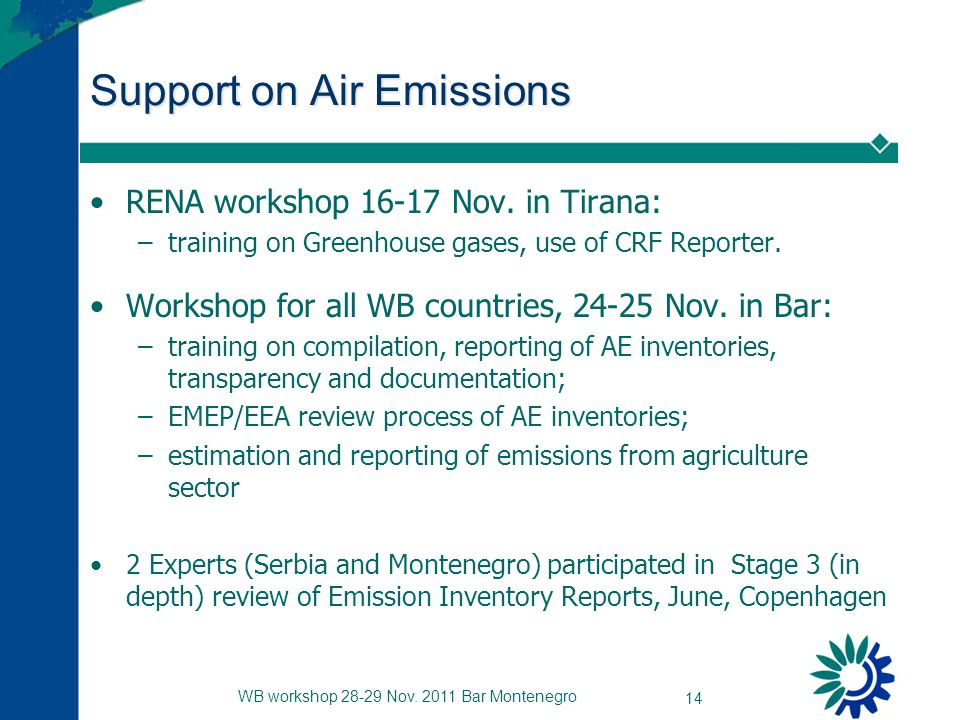 WB workshop 28-29 Nov.2011 Bar Montenegro 14 Support on Air Emissions RENA workshop 16-17 Nov.
