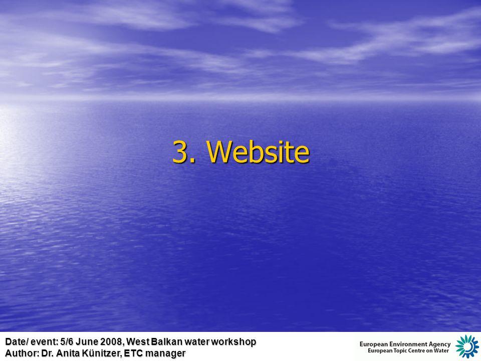 Date/ event: 5/6 June 2008, West Balkan water workshop Author: Dr. Anita Künitzer, ETC manager 3. Website