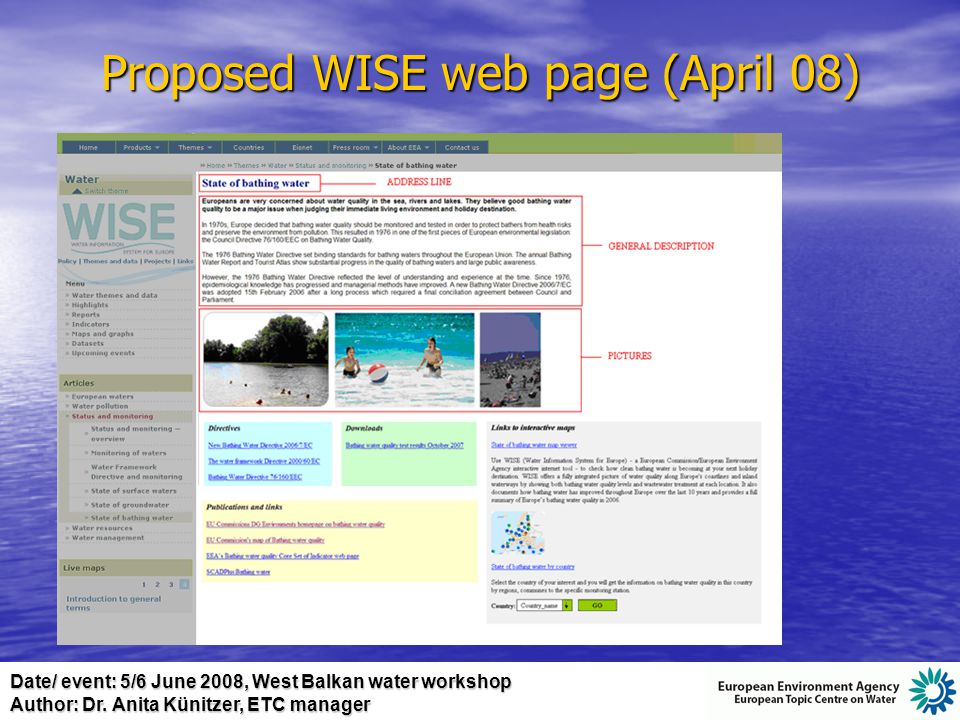 Date/ event: 5/6 June 2008, West Balkan water workshop Author: Dr. Anita Künitzer, ETC manager Proposed WISE web page (April 08)