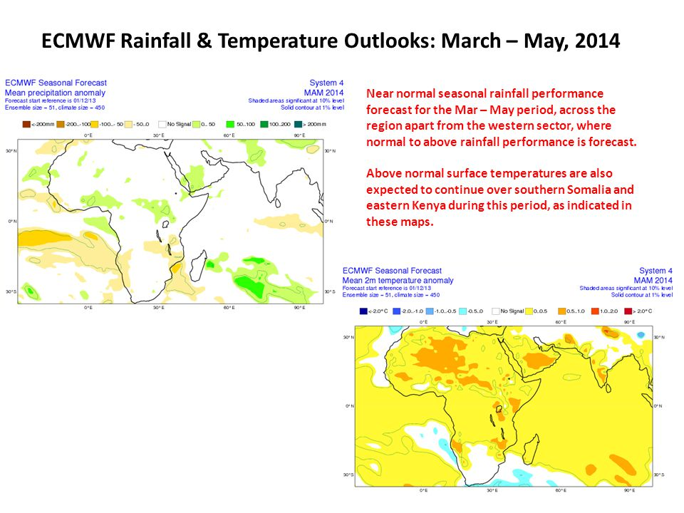 ECMWF Rainfall & Temperature Outlooks: Apr- Jun, 2014 Near average seasonal rainfall performance forecast for the April – June period, across the region apart for the western sector, where normal to above rainfall performance is forecast.