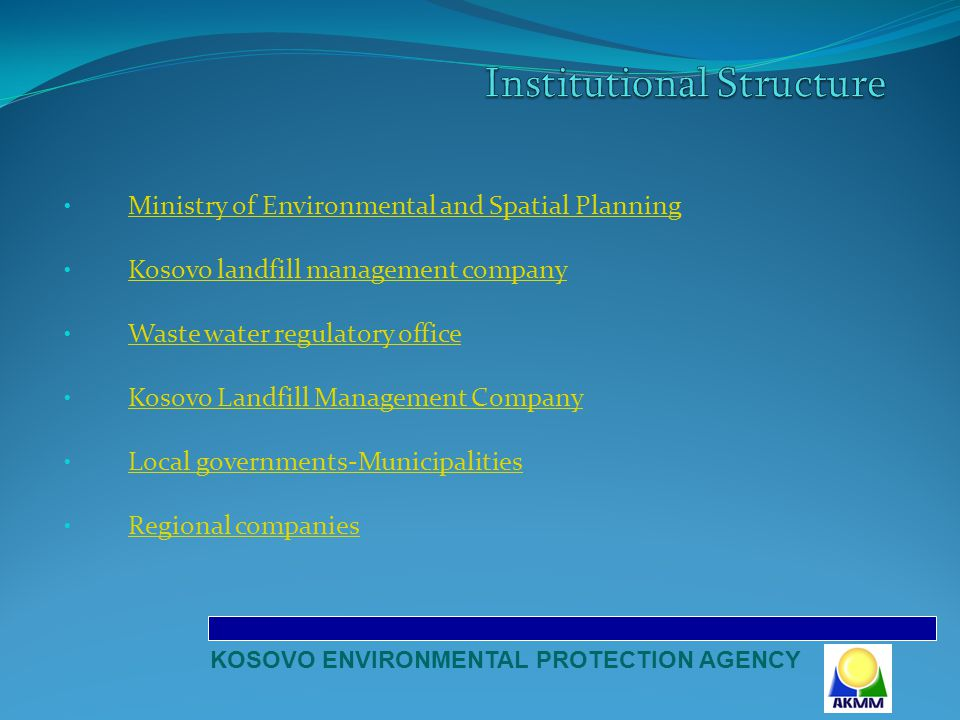 Waste Law (2005/02-L30) 19 Administrative Instructions: Administration of end of life vehicles and their wastes Waste from battery and expended accumulator Construction and demolition wastes Construction and demolition wastes Administration of waste and oils that are used Administration of waste and oils that are used Proprietor and operator`s competences for the wastes treatment Packaging and packaging waste etc KOSOVO ENVIRONMENTAL PROTECTION AGENCY
