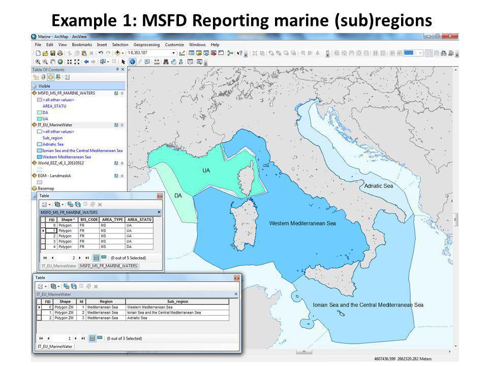 Example 2: harmonisation based on INSPIRE MSFD Spatial data set of marine regions INSPIRE Area management data spec.