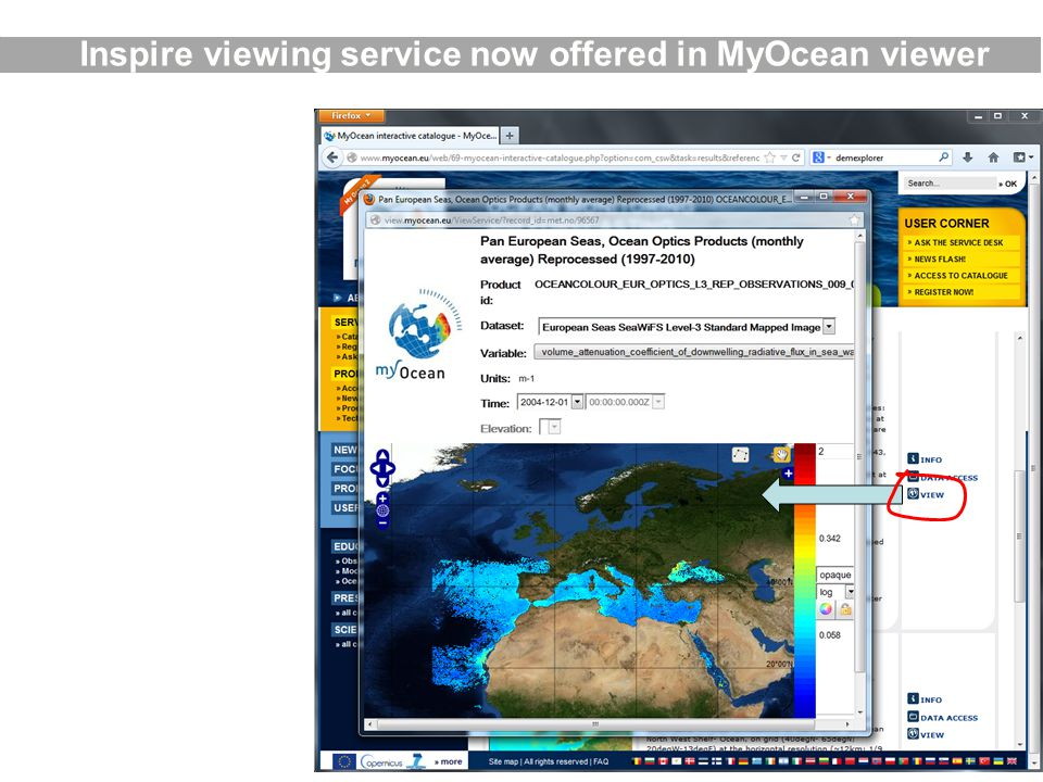 Inspire viewing service now offered in MyOcean viewer