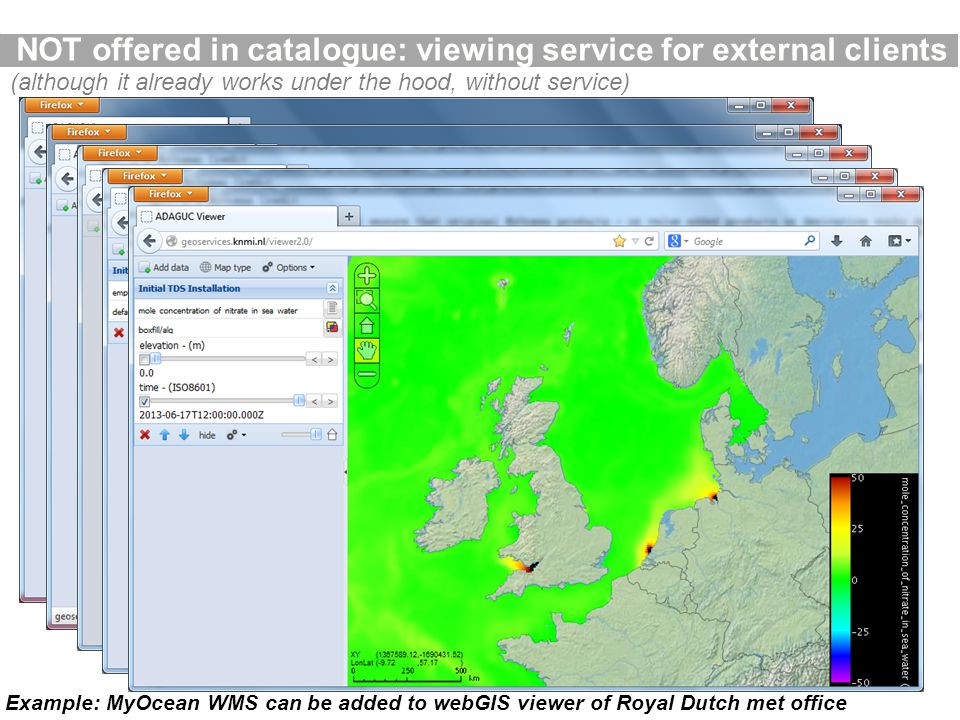 NOT offered in catalogue: viewing service for external clients Example: MyOcean WMS can be added to webGIS viewer of Royal Dutch met office (although