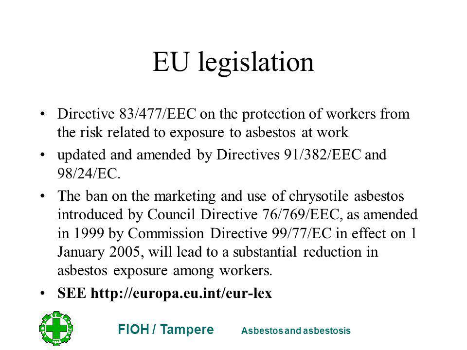 EU legislation Directive 83/477/EEC on the protection of workers from the risk related to exposure to asbestos at work updated and amended by Directives 91/382/EEC and 98/24/EC.
