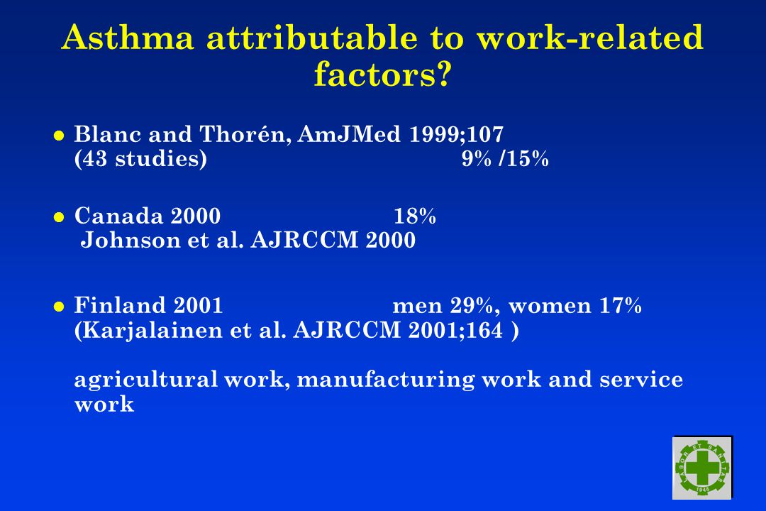 Asthma attributable to work-related factors.