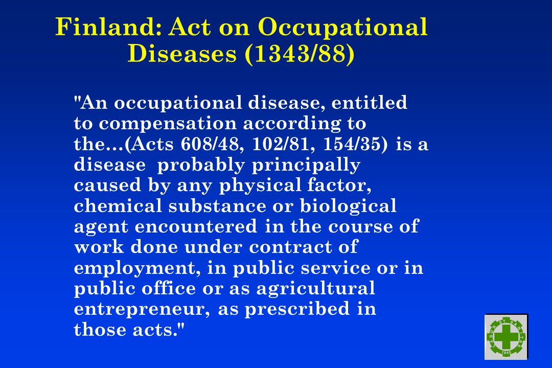 Finland: Act on Occupational Diseases (1343/88)