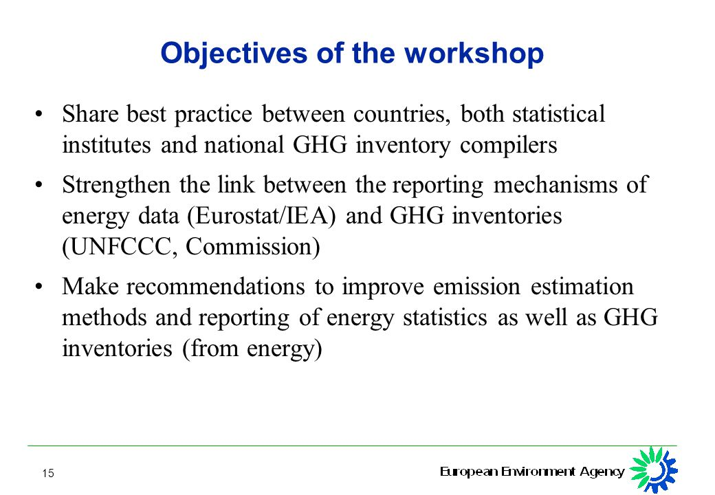 15 Objectives of the workshop Share best practice between countries, both statistical institutes and national GHG inventory compilers Strengthen the link between the reporting mechanisms of energy data (Eurostat/IEA) and GHG inventories (UNFCCC, Commission) Make recommendations to improve emission estimation methods and reporting of energy statistics as well as GHG inventories (from energy)
