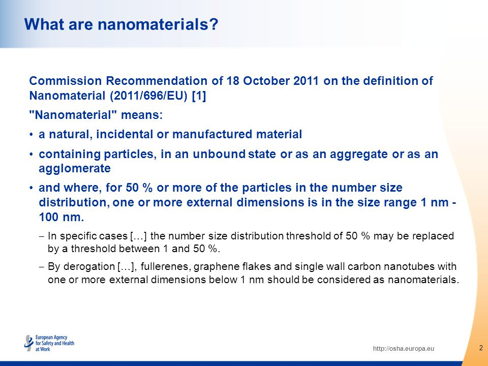 http://osha.europa.eu Commission Recommendation of 18 October 2011 on the definition of Nanomaterial (2011/696/EU) [1] Nanomaterial means: a natural, incidental or manufactured material containing particles, in an unbound state or as an aggregate or as an agglomerate and where, for 50 % or more of the particles in the number size distribution, one or more external dimensions is in the size range 1 nm - 100 nm.