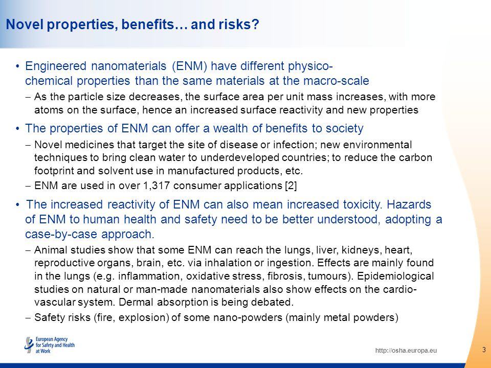 http://osha.europa.eu There is the potential for controversy in relation to ENM, and some already exists, so it is also important to justify risks in terms of potential benefits and the acceptability of risks from an ethical and moral perspective [9] It is thereby important to communicate and discuss not only the potential risks of ENM, but also the uncertainties currently surrounding the field of their hazard characterisation.