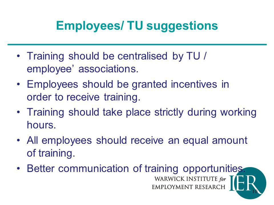 Employees/ TU suggestions Training should be centralised by TU / employee' associations.