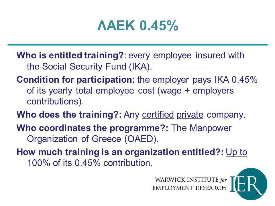 ΛΑΕΚ 0.45% Who is entitled training : every employee insured with the Social Security Fund (ΙΚΑ).