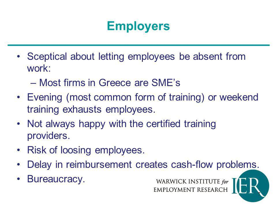 Employers Sceptical about letting employees be absent from work: –Most firms in Greece are SME's Evening (most common form of training) or weekend training exhausts employees.