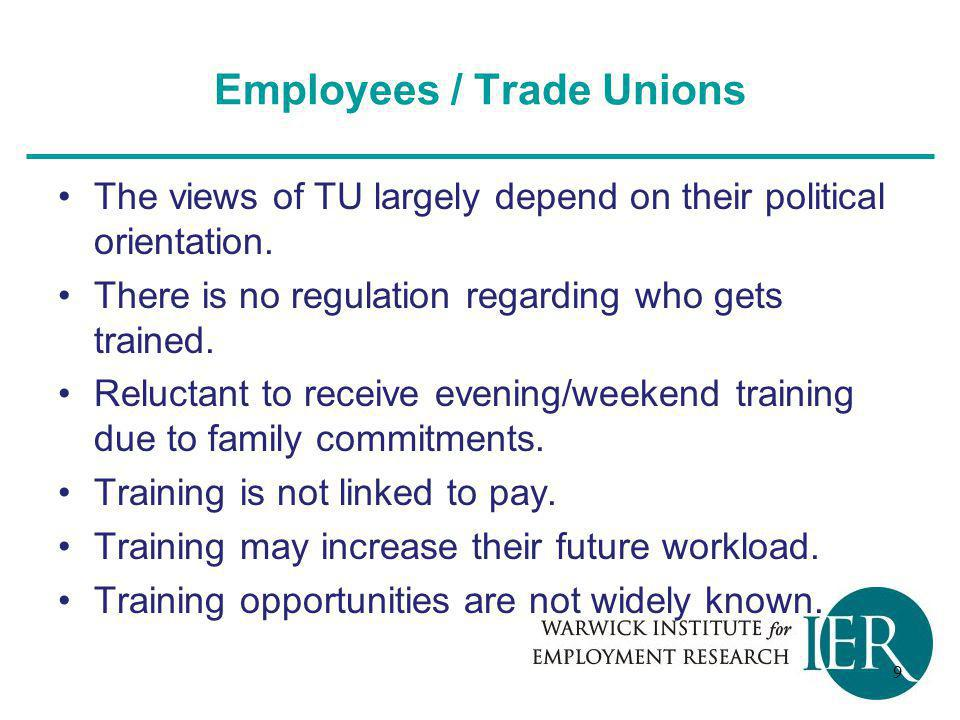 Employees / Trade Unions The views of TU largely depend on their political orientation.