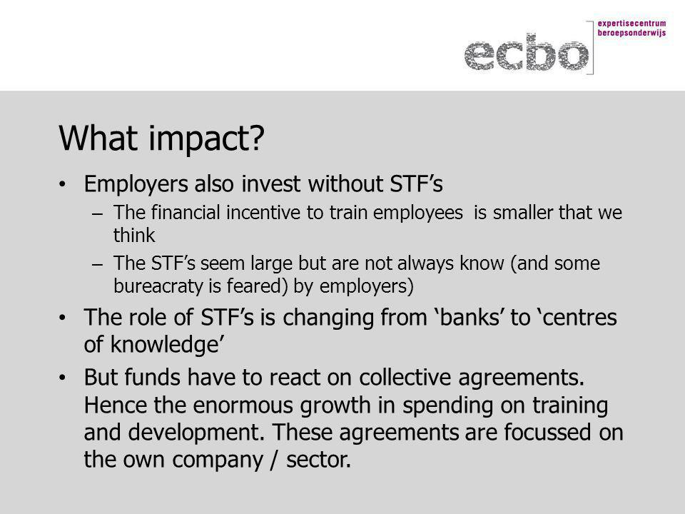 Employers also invest without STF's – The financial incentive to train employees is smaller that we think – The STF's seem large but are not always know (and some bureacraty is feared) by employers) The role of STF's is changing from 'banks' to 'centres of knowledge' But funds have to react on collective agreements.