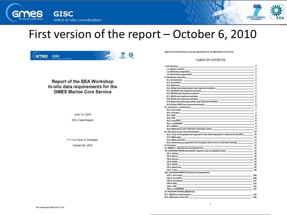 First version of the report – October 6, 2010