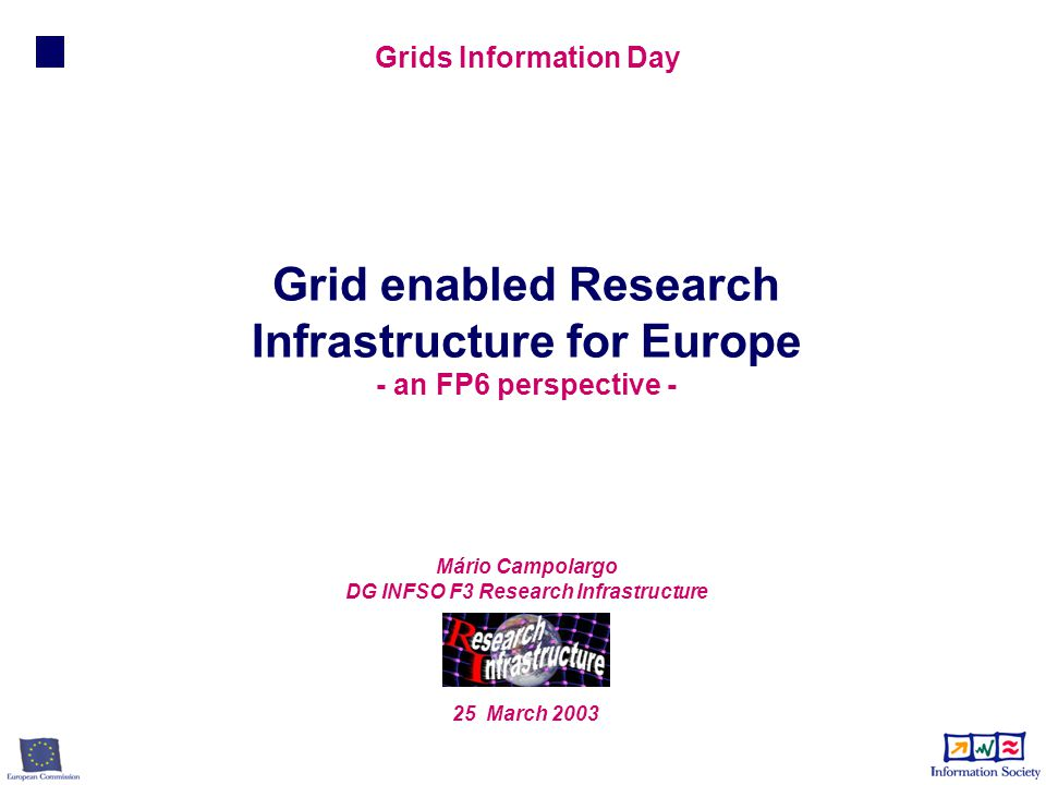 Mário Campolargo DG INFSO F3 Research Infrastructure 25 March 2003 Grid enabled Research Infrastructure for Europe - an FP6 perspective - Grids Information Day