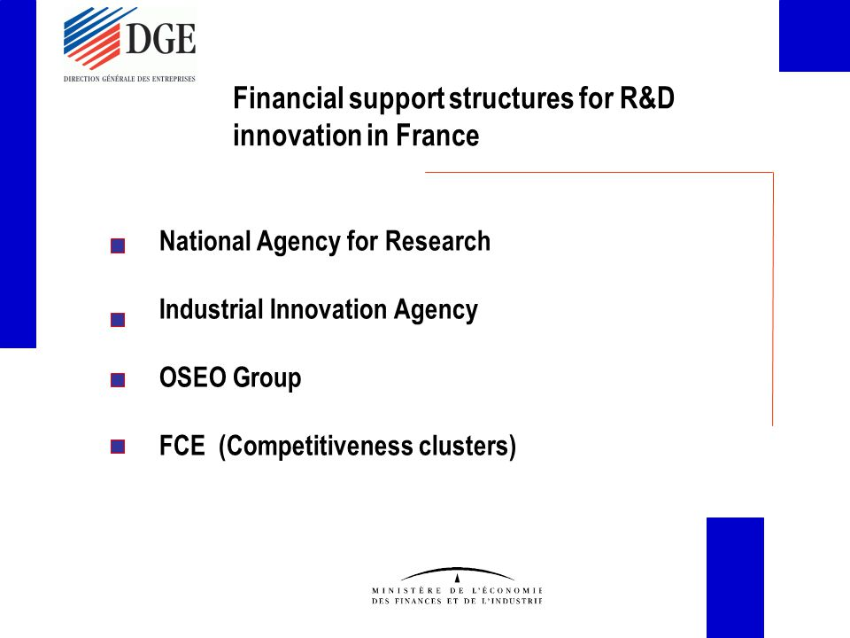 Financial support structures for R&D innovation in France National Agency for Research Industrial Innovation Agency OSEO Group FCE (Competitiveness clusters)