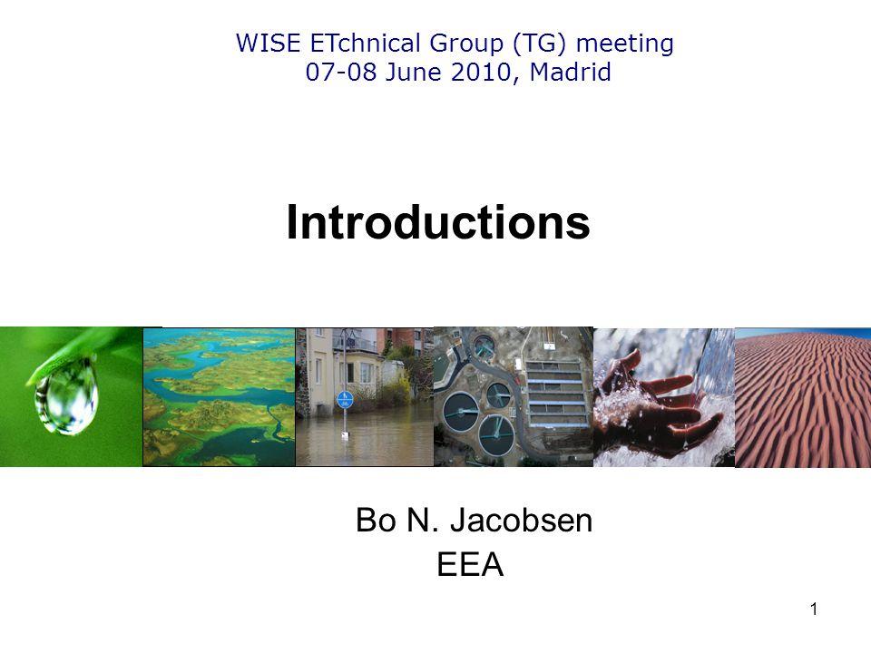 1 Introductions Bo N. Jacobsen EEA WISE ETchnical Group (TG) meeting 07-08 June 2010, Madrid
