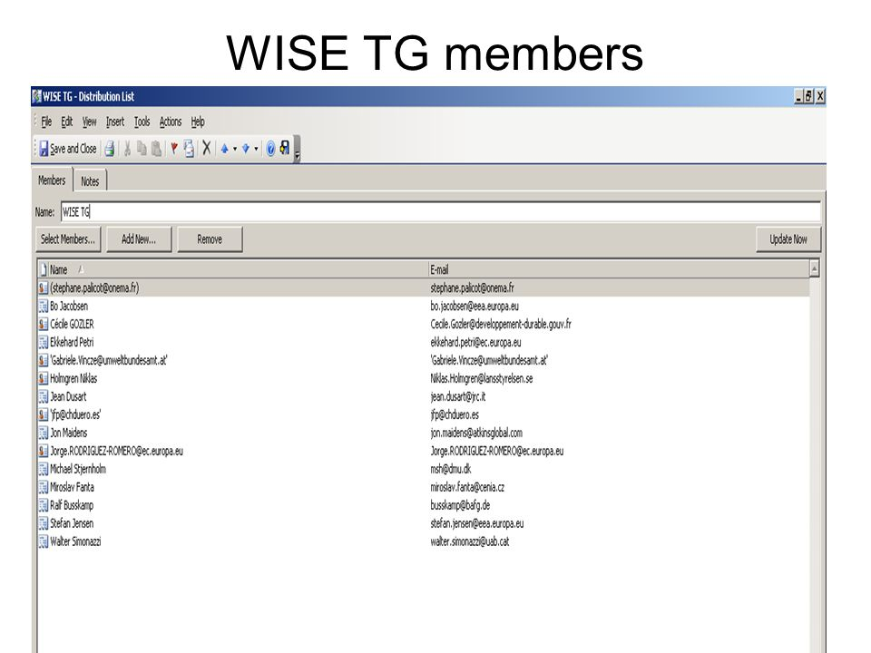 3 WISE TG Cc mailing list
