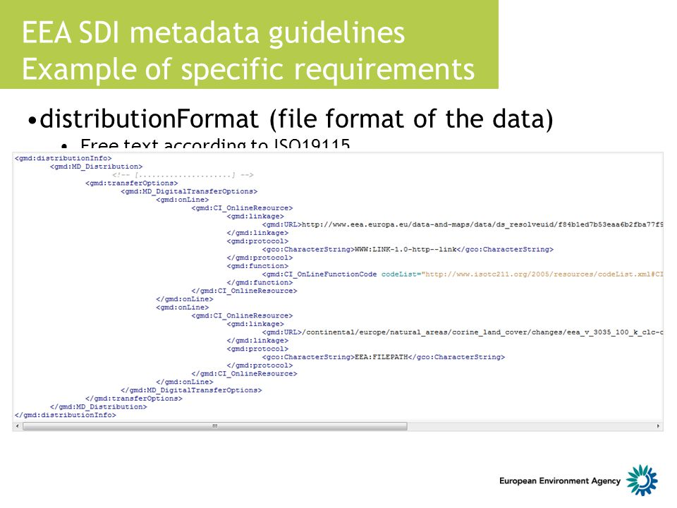 EEA SDI metadata guidelines Example of specific requirements distributionFormat (file format of the data) Free text according to ISO19115 Code list at
