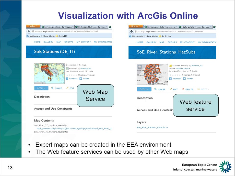 13 Visualization with ArcGis Online Expert maps can be created in the EEA environment The Web feature services can be used by other Web maps Web Map S